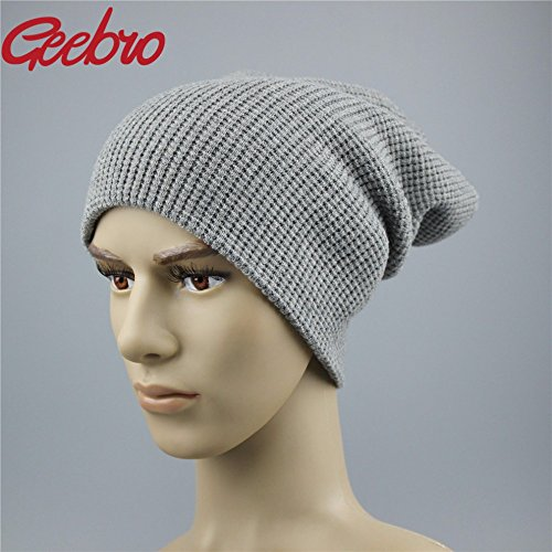 Negro 4 Black Men For Brand Knitted Warm Gray Skully Hat Color QETUOAD Dad Beanie Hats Spring Dark Men'S Winter Js270A HwzZOn