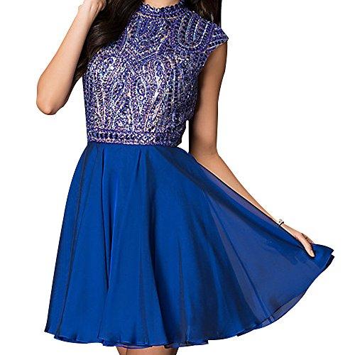 Neck Chiffon Short (Miss Chics Women Chiffon High-neck Short Beaded Prom Dress Homecoming Dress 2016 (6, Royal Blue))
