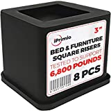 iPrimio Bed and Furniture Square Risers - 8 Pack 3 INCH Size - Wont Crack & Scratch Floors - Heavy Duty Rubber Bottom - Patent Pending - Great for Wood and Carpet Surface