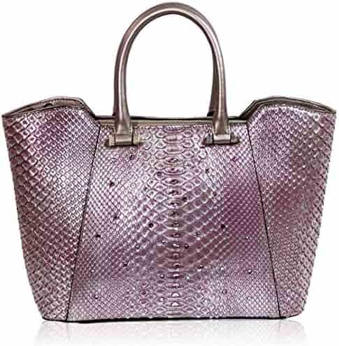 c4227f8fe8f1 Silvano Biagini Italian Designer Rose Tourmaline Metallic Genuine Python Leather  Crossbody Bag