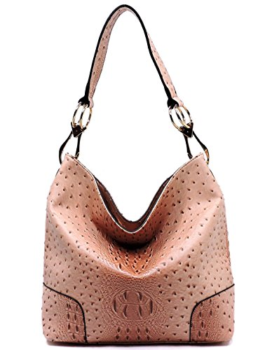 Choices 7 Ostrich Top Classic New Blush Hobo Le Embossed Color Miel Zip qBxqv8Uw