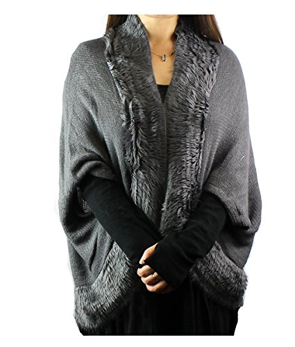 Modadorn Faux Fur with Solid Knit Ruana - Knit Ruana Pattern