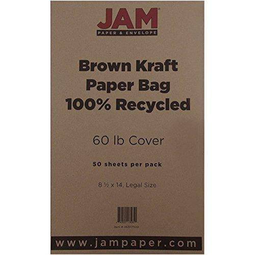 """JAM Paper Recycled Legal Cardstock - 8.5"""" x 14"""" - 60 lb Brown Kraft Paper Bag - 50/pack"""