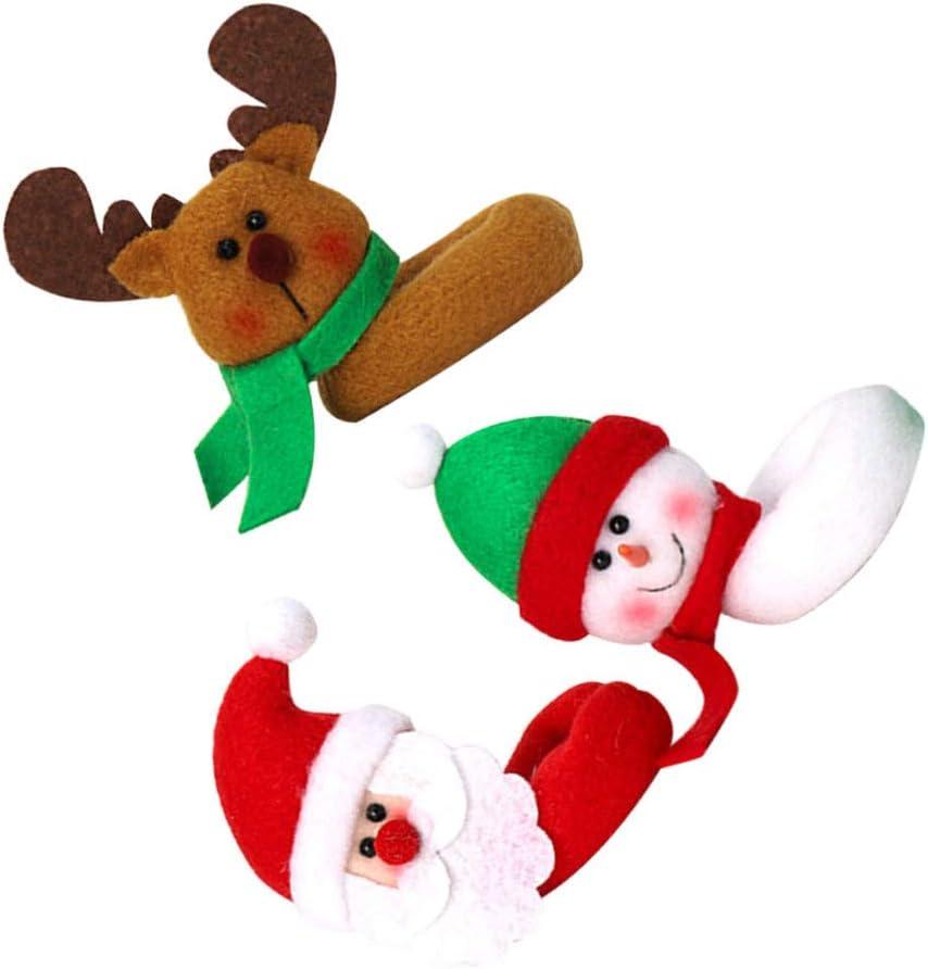 Amosfun Segnabicchieri Natale per Bicchieri da Vino Forma Babbo Natale Pupazzo di Neve Renna 3 Pezzi