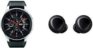 Samsung Galaxy Smartwatch (46mm) Silver (Bluetooth) – US Version with Warranty & Galaxy Buds, Bluetooth True Wireless Earbuds (Wireless Charging Case Included), Black - US Version with Warranty