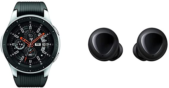 Samsung Galaxy Smartwatch (46mm) Silver (Bluetooth) – US Version with Warranty & Galaxy Buds, Bluetooth True Wireless Earbuds (Wireless Charging Case ...