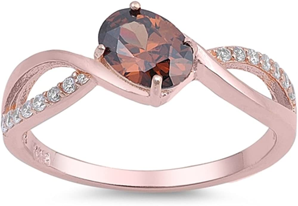 Oval Coffee Colored Cubic Zirconia Center Swirl Design Ring Rose Gold-Tone Plated Sterling Silver