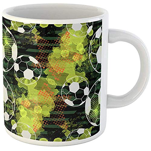 (Funny Gift Coffee Mug Championship Urban Design Sport with Soccer Balls Watercolor Stars and Effect 11 Oz Ceramic Coffee Mug Tea Cup Souvenir)