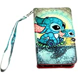 Lilo & Stitch iPhone 8/7 / 6s Wallet Case, IMAGITOUCH Folio Flip PU Leather Wallet Case with Kickstand Wrist Strap and Card Slots for iPhone 8, 7, 6 / 6s (4.7')- Lilo Stitch Wallet