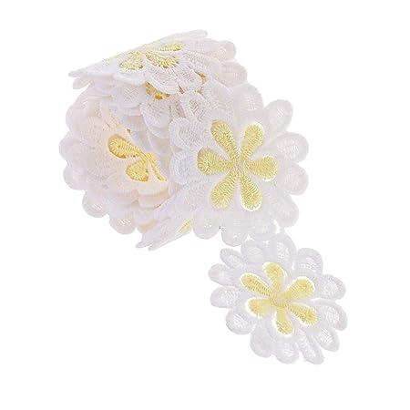 3yd Polyester Crochet Daisy Flower Lace Trim Ribbon DIY Crafts Sewing Applique