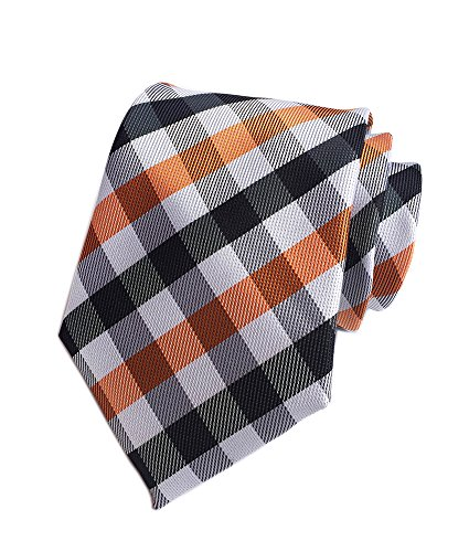 Men's White Black Orange Wave Plaid Silk Ties Handmade Woven Casual Daily Dress Necktie