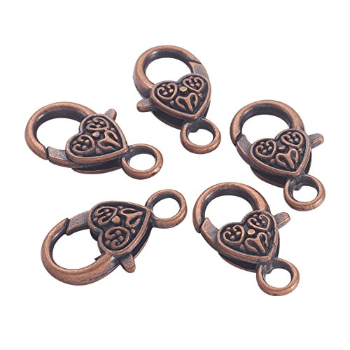 Nbeads Tibetan Style Heart Lobster Claw Clasps, Lead Free and Cadmium Free, 25.5x14x6mm, hole: 4mm