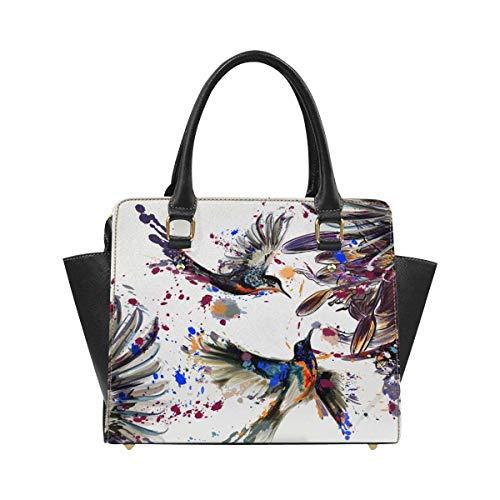 InterestPrint Lily Flowers Hummingbirds Women Top Handle Satchel Handbags Shoulder Bag Tote Purse