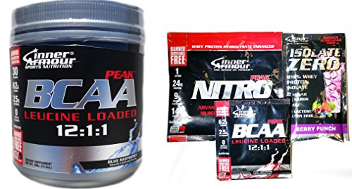 Inner Armour BCAA Peak, Blue Raspberry, 12.5 Ounces With 3 FREE Sample Packets
