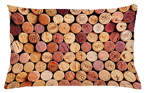 """Ambesonne Wine Throw Pillow Cushion Cover, Random Selection of Used Wine Corks Vintage Quality Gourmet Taste Liquor, Decorative Rectangle Accent Pillow Case, 26"""" X 16"""", Mustard Mauve"""