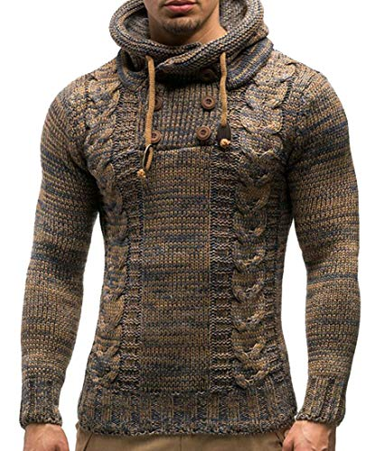 Frieed Men Buttons Knitwear Hooded Drawstring Slim Pullover Sweater 1 M