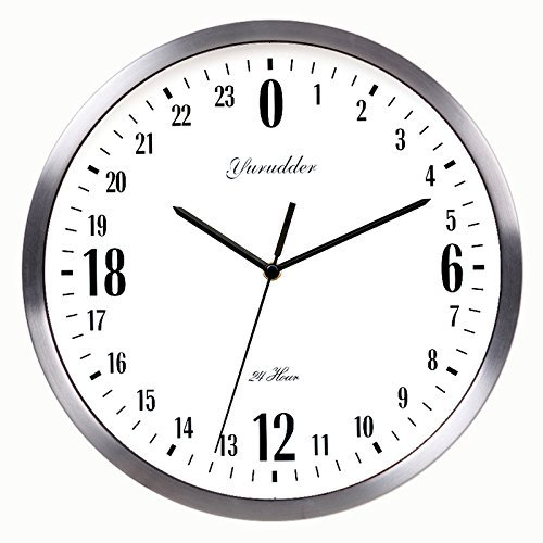 24 Hr Round The Clock - Newest 24 Hour Dial Design 12 Inches Metal Frame Modern Fashion Decorative Round Wall clock (silver frame)
