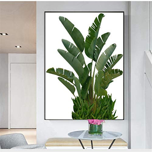 Home Decor Canvas Painting Removable Room Hotel Cafe Wall Hanging Green Plant Leaves Picture Printed Art (21X30CM, Green) (Maker Monogram Wallpaper)