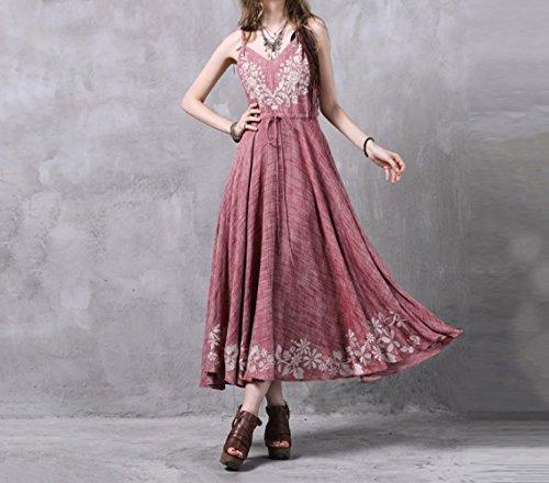 Lin pour en Coton Femme Jupe Rose et Bretelles Longue DYY wBW7t0nqYB