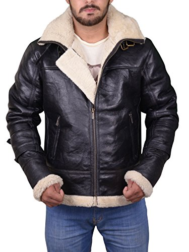 T&H B3 Bomber Full Fur Removable Hood Genuine Sheepskin Shearling Leather Jacket (Large)