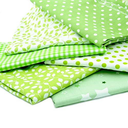 Fat Quarter Fabric Bundles Pre-Cut Quilting Cotton Twill Striped Printed Assortments,Good Quality Craft Cloth Bundle Squares,DIY for Sewing Crafting Rose Flavor(Green,18 by 20.5Inch) ()