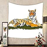 Gzhihine Custom tapestry Africa Tapestry Striped Safari Animal Tiger Watercolored Design Image Artwork for Bedroom Living Room Dorm 60WX40L Earth Yellow Black and White