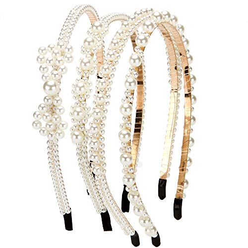 LONEEDY 4 PCS Pearl Beaded Headbands, Bridal Hair Accessories Party for Women and Girls (Color 02)