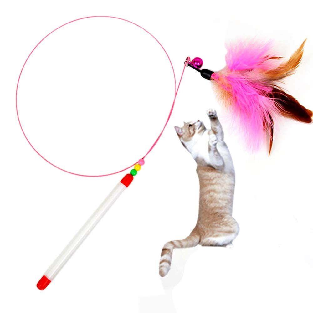 Glumes Feather Teaser Cat Toy, Pet Feather Wand + Bell, Guaranteed to Drive Your Cat Wild, Interactive Catcher Teaser for Kitten Or Cat Having Fun Exerciser Playing (Multicolor) by Glumes (Image #1)