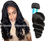 Vinsteen 8a Grade Brazilian Virgin Hair Loose Wave 8~30 Inch Hair Weaves 1pcs Natural Black Human Hair Weave Bundles Can be Dyed (1pcs 18 inch) For Sale