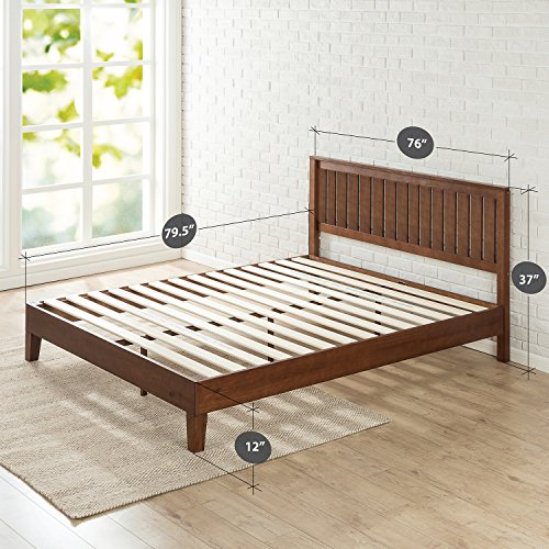 Zinus 12 Inch Deluxe Wood Platform Bed with Headboard/No Box Spring Needed/Wood Slat Support/Antique Espresso Finish, King