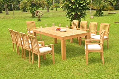 WholesaleTeak 10 Seats 11 Pcs Grade-A Teak Wood Dining Set: 86