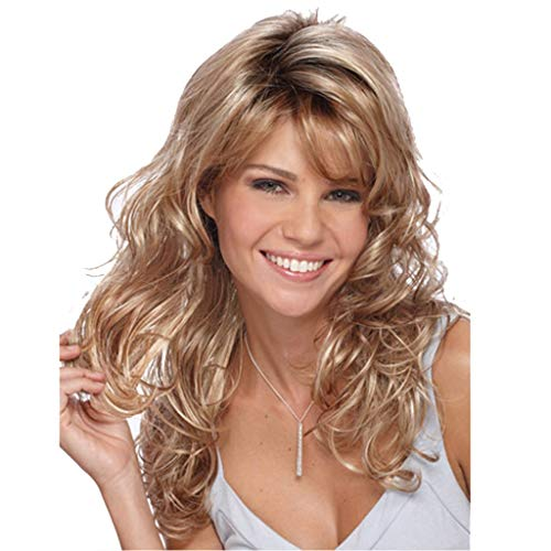 Horenme Women Wig Blonde Curly Wavy Hair Salon Cosplay Hairstyle Anime Girls Party Old Fashion Europe Female Synthetic Hair Wigs Heat Resistance