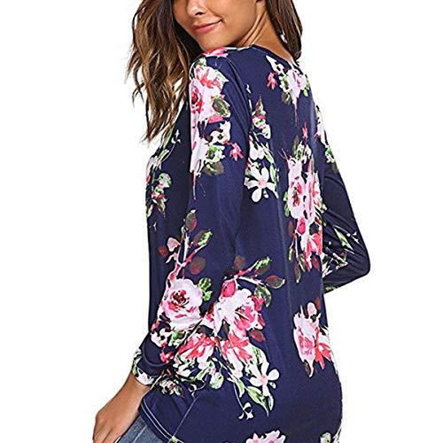 Larga Redondo Camisa Las Deep De Blue Con Floral Doblada Elegante Mujeres Estampado Y Manga Cuello ZqBEnB4RY