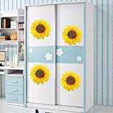 Kids Wall Stickers, GTidea Vived 3D Slik Large Sunflowers Wall Art Mural Decal Stickers Flowers DIY Children Bedroom Nursery Parlour Wall Background Decor