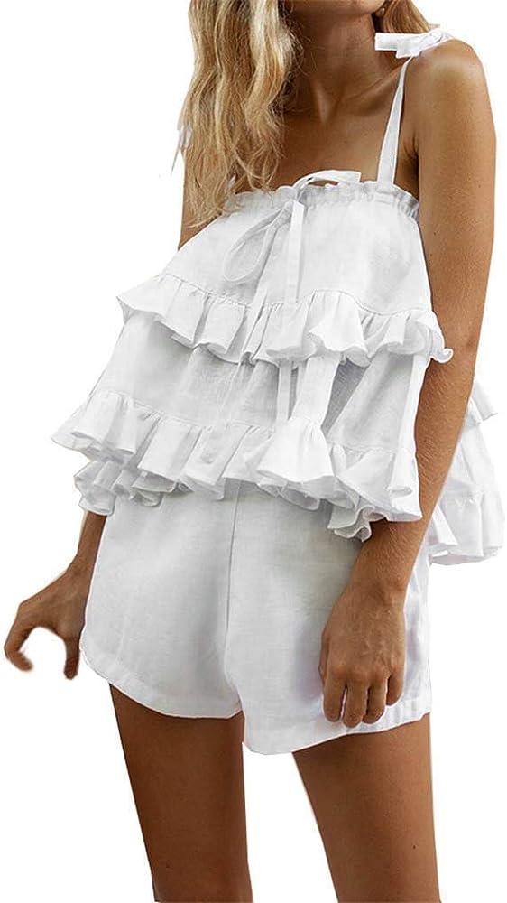 Sexy Mujer sin Mangas con Tirantes algodón Lino Parte Superior + ...