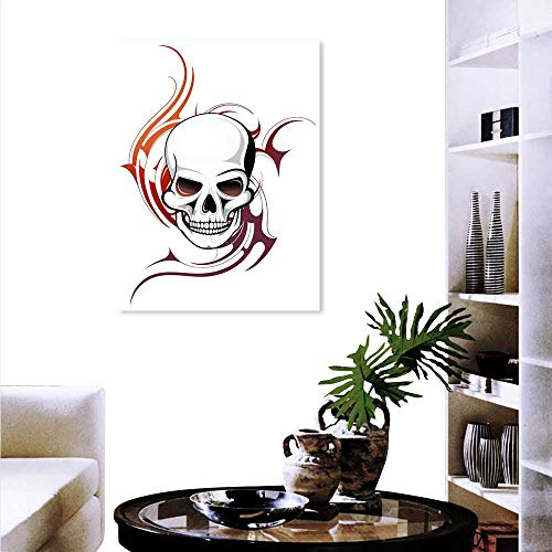 - Anyangeight Tattoo Landscape Wall Stickers Scary Fierce Wild Skull Red Flames Tribal Artistic Tattoo Image Design Wall Stickers 20