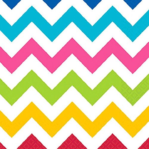 (amscan Disposable Lunch Paper Napkins in Chevron Print (16 Piece), 6.5