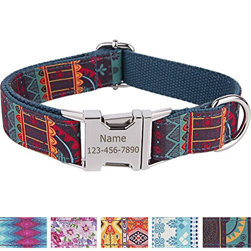 Personalized Dog Collar / Premium Custom Dog Collar with Name Plated / Stainless Steel Quick Release Buckle / Fashion Patterns Dog Collars / Laser Engraved / Cyan Mayan Pattern in XS,S,M,L,XL