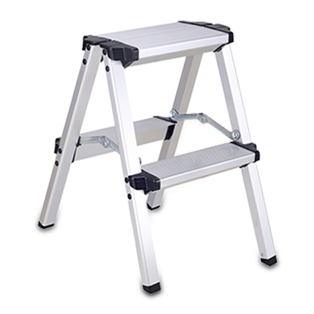 LXLA- Aluminum Alloy Scissors Ladder With Handrail Folding 2,3,4,5-Step Stool Thicken Multifunction Footstool For Home, Workshop, Garage (Size : 2-Step)
