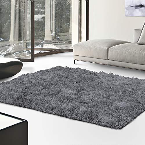 (Superior Textured Shag Area Rug, Grey, 8' x 10')
