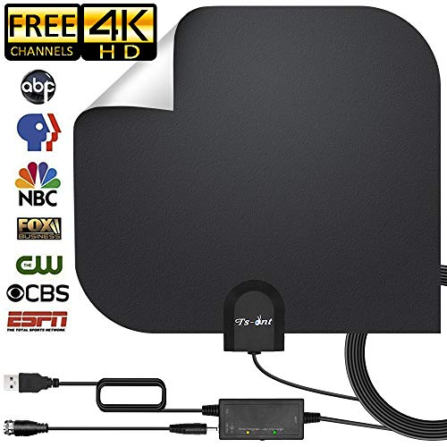 ([2019 Upgraded] HD Antenna,HD Digital Indoor TV Antenna Version, 140+ Mile Range HDTV Antenna with Amplifier Signal Booster, Amplified 17ft Coax Cable … (Black))