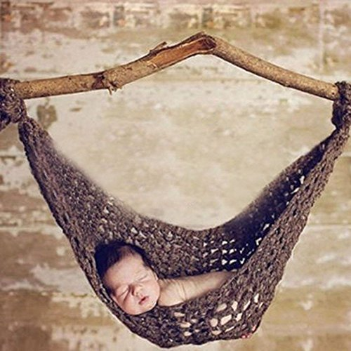 AiXiAng Baby Newborn Photography Prop Baby Handmade Crochet Knitted Hammock Costume Hat Set Photo Props Hammock