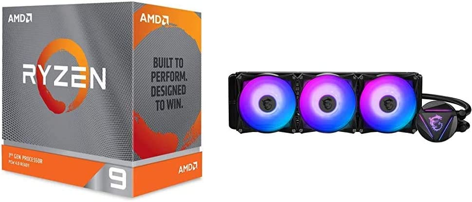Amazon Com Amd Ryzen 9 3900xt 12 Core 24 Threads Unlocked Desktop Processor Without Cooler Msi Mag Coreliquid 360r Aio Rgb Cpu Liquid Cooler Rotating Cap Design 360mm Radiator Triple