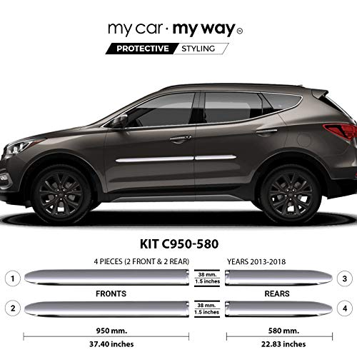 (MY CAR MY WAY (Fits) Hyundai Santa Fe Sport 2013-2018 Chrome Body Side Molding Cover Trim Door Protector)