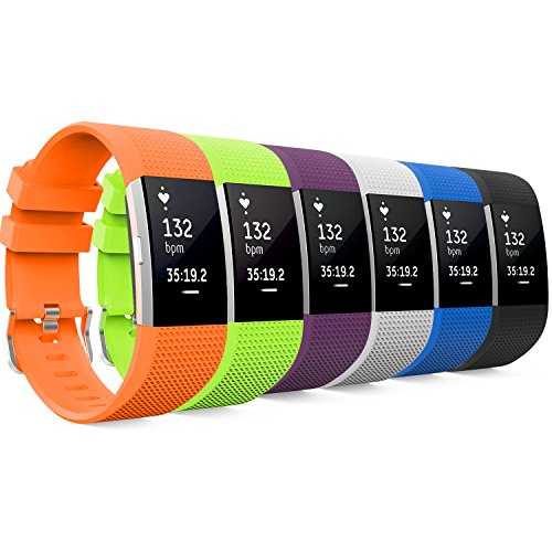 MoKo Fitbit Charge 2 Band, [6 PACK] Soft Silicone Adjustable Replacement Strap for 2016 Fitbit Charge 2 Heart Rate + Fitness Wristband, Wrist Length 5.70-8.26 (145mm-210mm), 6 Colours