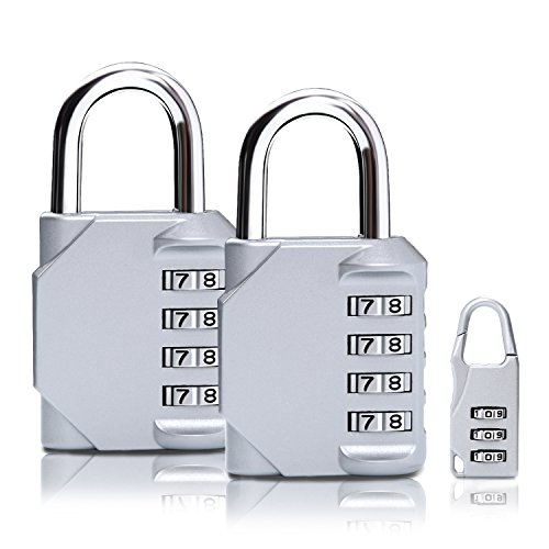TTRWIN Combination Lock, 4 Digit Combination Padlock Set, Metal and Plated Steel Material for School, Employee, Gym or Sports Locker, Case, Toolbox, Fence, Hasp Cabinet and Storage, Pack of 3 (Silver) by TTRWIN