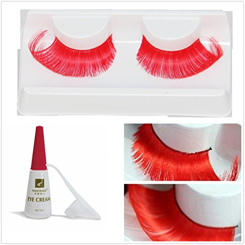 Beauty II Girl Fancy Dress Dance Party Makeup Multi-colored False Eyelashes Eye Lashes Extra Long Cosplay Christmas Halloween Costume Queen Holiday Fun Fake Eyelashes with Glue/Adhesive (Red)