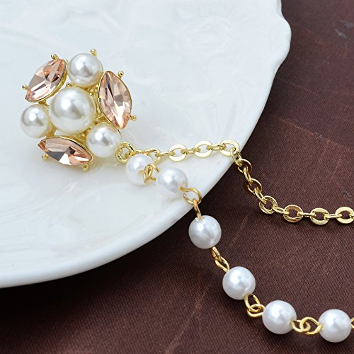 Champagne Tone Crystal Pearl Daisy Flower Brooches Pins with Pearl Chain Tassel Sweater Guard Clip Pin by OBONNIE (Image #2)