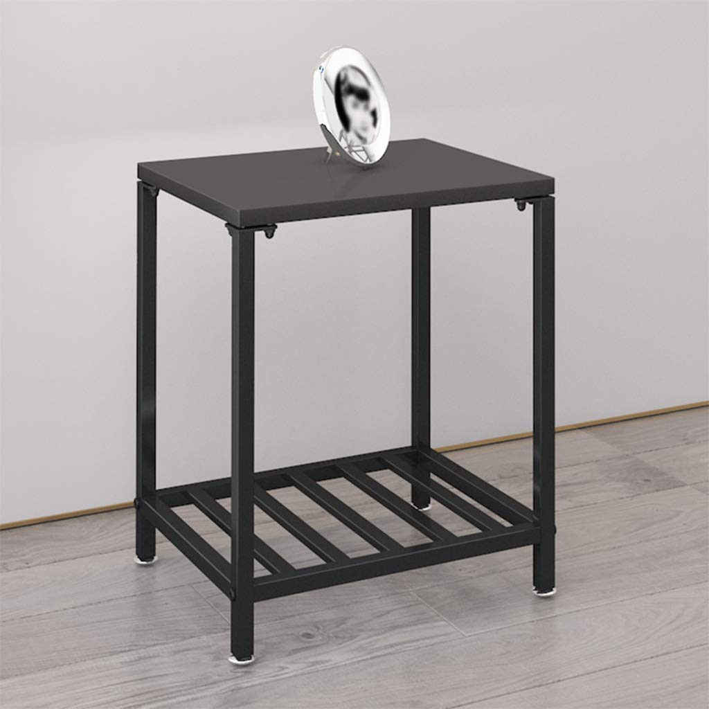 ZDNALS Bedside Table,Small Wrought Iron Bedside Table Modern Metal Bed Multi-Function Small Cabinet Shelf 40×35×50cm Bedside Table (Color : Black)