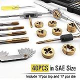 Azuno 40PCS Tap and Die Set in SAE Size, Titannium